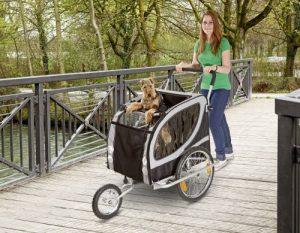 Jogger-Funktion am Hunde-Fahrradanhänger